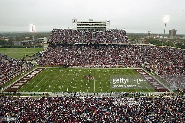 A general view during play between the Texas AM Aggies and the Oklahoma Sooners at Oklahoma Memorial Stadium on November 8 2003 in Norman Oklahoma...