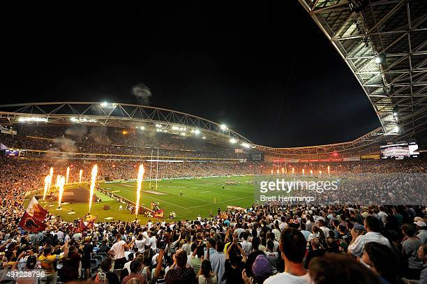 A general view during play during the 2015 NRL Grand Final match between the Brisbane Broncos and the North Queensland Cowboys at ANZ Stadium on...