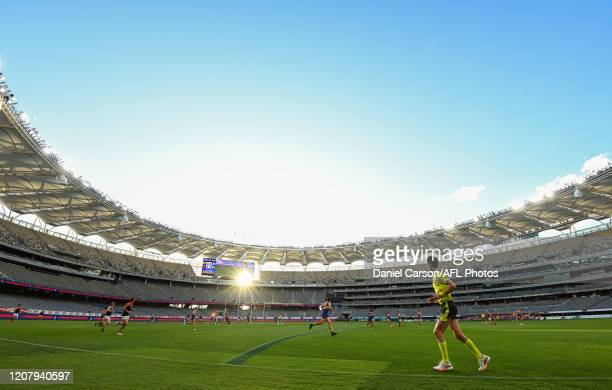 General view during play during the 2020 AFL Round 01 match between the West Coast Eagles and the Melbourne Demons at Optus Stadium on March 22, 2020...