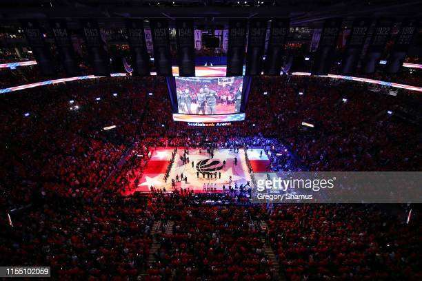 A general view during player introductions prior to Game Five of the 2019 NBA Finals between the Golden State Warriors and the Toronto Raptors at...