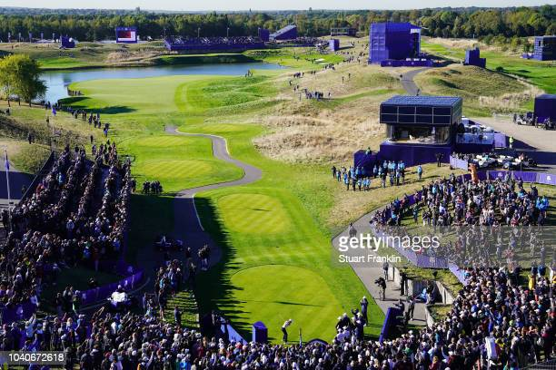 A general view during practice ahead of the 2018 Ryder Cup at Le Golf National on September 26 2018 in Paris France