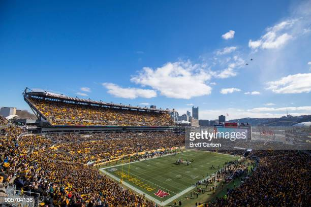 General view during pregame ceremonies for the AFC Divisional Playoff game between the Pittsburgh Steelers and the Jacksonville Jaguars at Heinz...