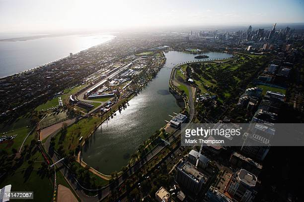 General view during qualifying for the Australian Formula One Grand Prix at the Albert Park circuit on March 17 2012 in Melbourne Australia