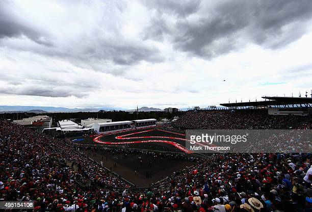 A general view during qualifying for the Formula One Grand Prix of Mexico at Autodromo Hermanos Rodriguez on October 31 2015 in Mexico City Mexico