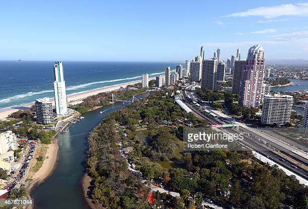 A general view during race 31 for the Gold Coast 600 which is round 12 of the V8 Supercars Championship Series at the Surfers Paradise Street Circuit...