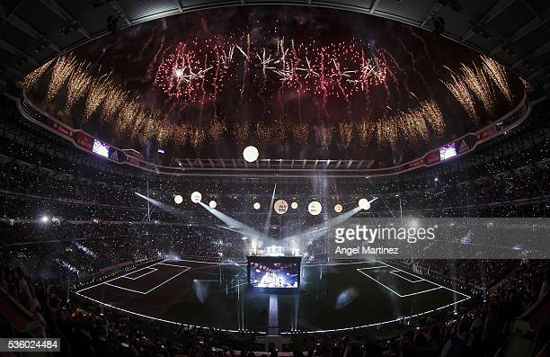 A general view during Real Madrid CF team celebration at Santiago Bernabeu Stadium the day after winning the UEFA Champions League Final match...
