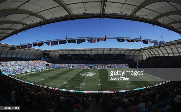 General view during Rugby Sevens on day 11 of the Gold Coast 2018 Commonwealth Games at Robina Stadium on April 15, 2018 on the Gold Coast, Australia.
