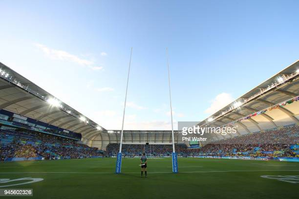 A general view during Rugby Sevens on day nine of the Gold Coast 2018 Commonwealth Games at Robina Stadium on April 13 2018 on the Gold Coast...