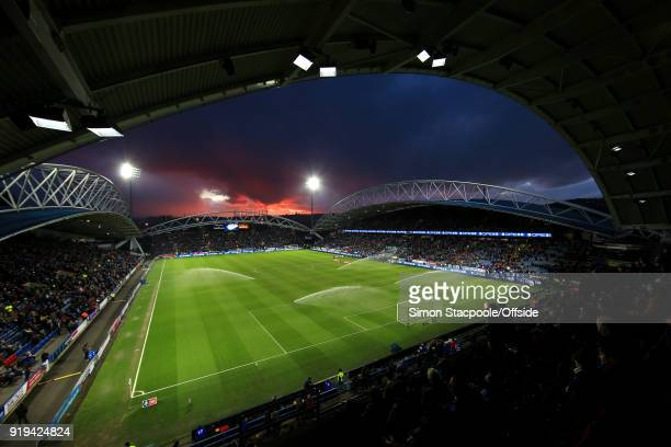 A general view during sunset ahead of The Emirates FA Cup Fifth Round match between Huddersfield Town and Manchester United at the John Smith's...
