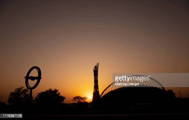 General view during sunset of the the Khalifa International Stadium seen prior to the 17th IAAF World Athletics Championships Doha 2019 at Khalifa...