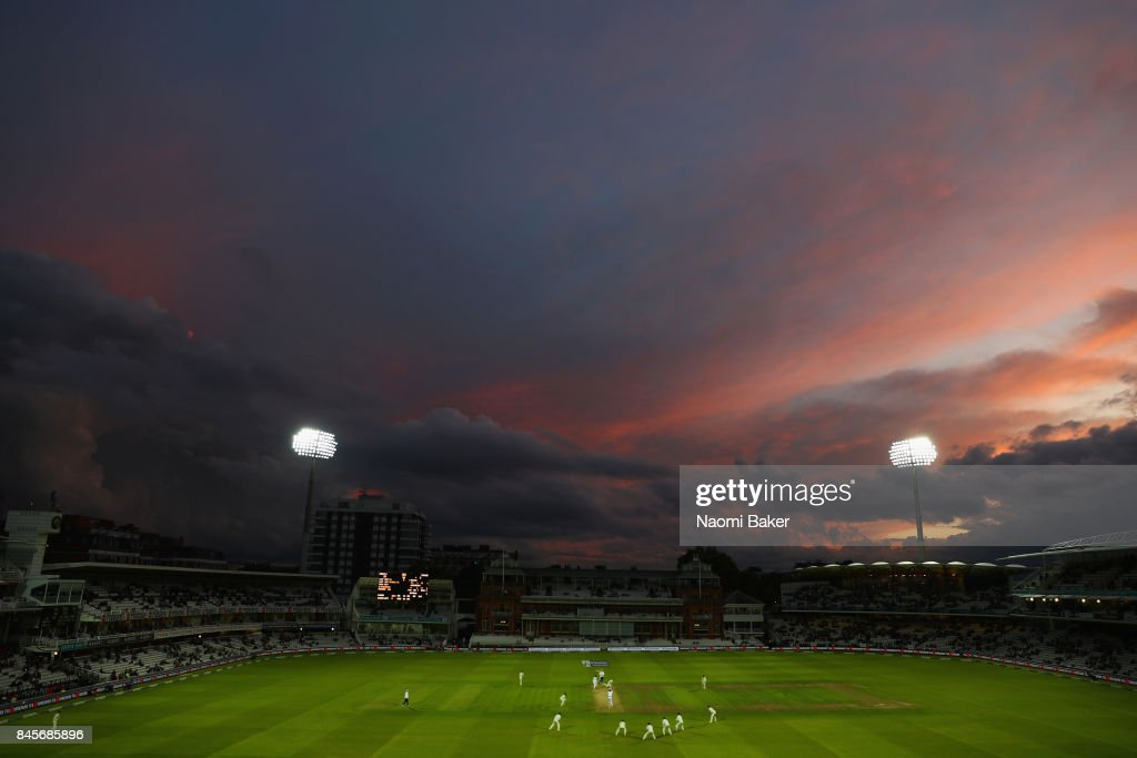 A general view during sunset on day two of the 3rd Investec Test Match between England and the West Indies at Lord's Cricket Ground on September 8, 2017 in London, England.