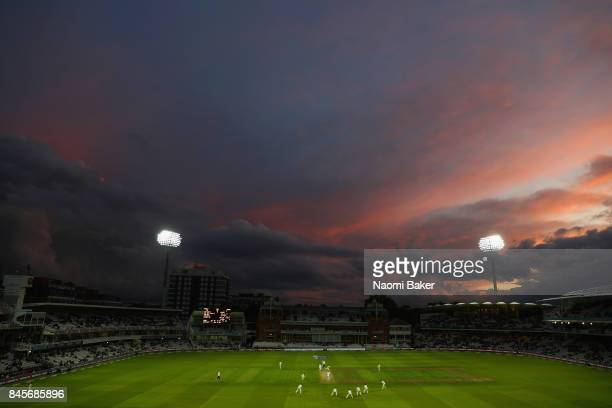 A general view during sunset on day two of the 3rd Investec Test Match between England and the West Indies at Lord's Cricket Ground on September 8...