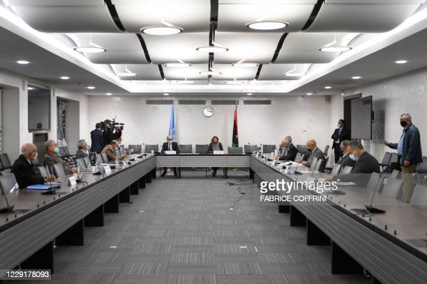 General view during talks between the rival factions in the Libya conflict on October 20, 2020 at the United Nations offices in Geneva. - Talks...