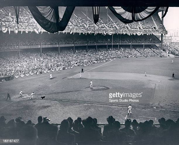 A general view during the 1951 World Series at Yankee Stadium in the Bronx borough of New York City