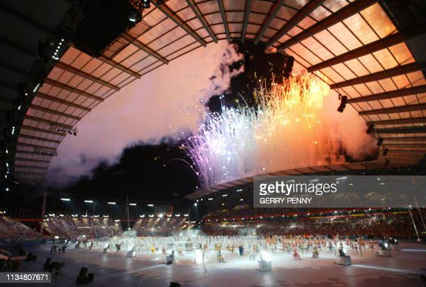 General view during the 2002 Manchester Commonwealth Games opening ceremony 25 July 2002. AFP PHOTO GERRY PENNY