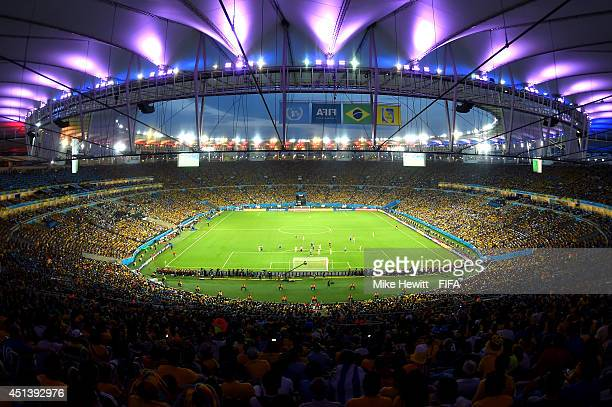 General view during the 2014 FIFA World Cup Brazil Round of 16 match between Colombia and Uruguay at Maracana on June 28 2014 in Rio de Janeiro Brazil