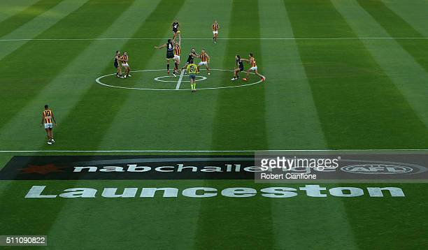 A general view during the 2016 AFL NAB Challenge match between the Hawthorn Hawks and the Carlton Blues at Aurora Stadium on February 18 2016 in...