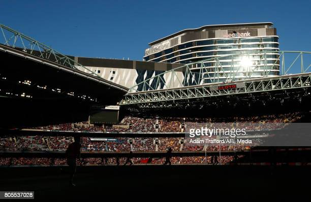 A general view during the 2017 AFL round 15 match between the Essendon Bombers and the Brisbane Lions at Etihad Stadium on July 02 2017 in Melbourne...