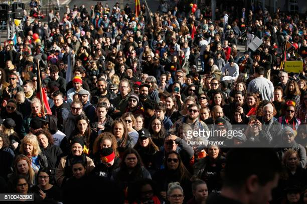 A general view during the 2017 NAIDOC March on July 7 2017 in Melbourne Australia The march was organised to call for a day of mourning and to bring...