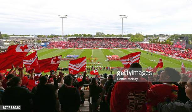 General View during the 2017 Rugby League World Cup match between the New Zealand Kiwis and Tonga at Waikato Stadium on November 11 2017 in Hamilton...