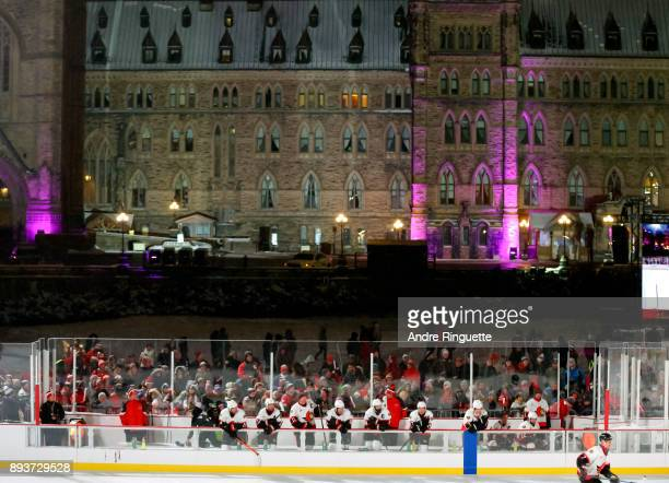 A general view during the 2017 Scotiabank NHL100 Classic Ottawa Senators Alumni Game on Parliament Hill on December 15 2017 in Ottawa Canada