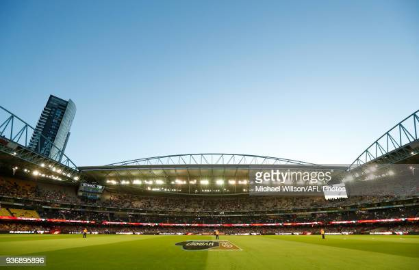 A general view during the 2018 AFL round 01 match between the Essendon Bombers and the Adelaide Crows at Etihad Stadium on March 23 2018 in Melbourne...