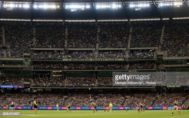 A general view during the 2018 AFL round 01 match between the Richmond Tigers and the Carlton Blues at the Melbourne Cricket Ground on March 22 2018...