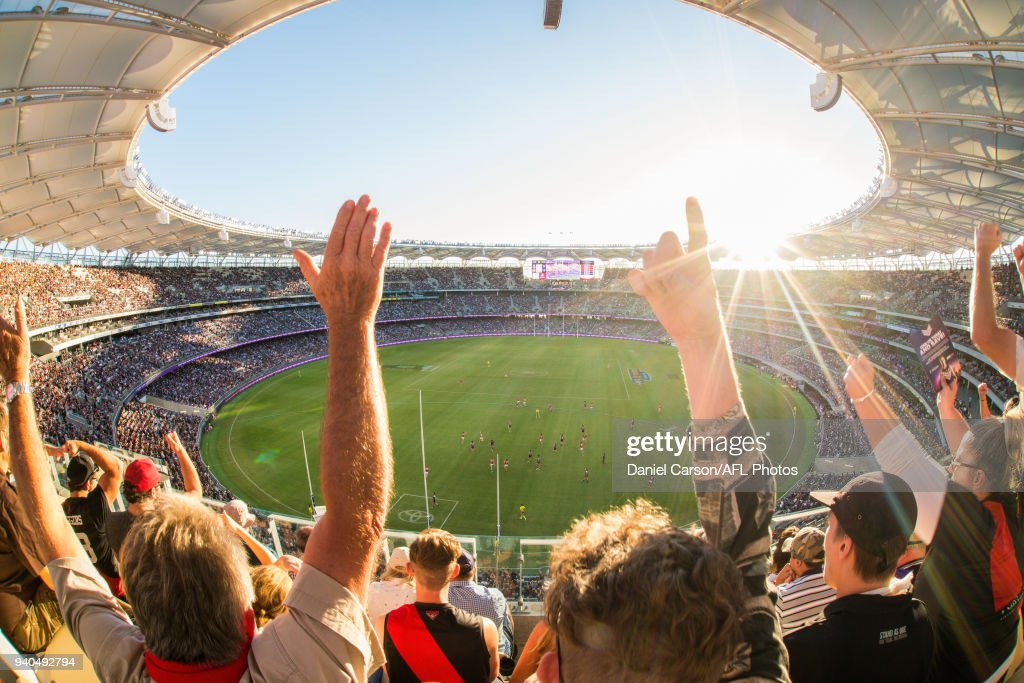 General view during the 2018 AFL round 02 match between the Fremantle Dockers and the Essendon Bombers at Optus Stadium on March 31, 2018 in Perth, Australia.