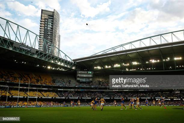 A general view during the 2018 AFL round 02 match between the Western Bulldogs and the West Coast Eagles at Etihad Stadium on April 1 2018 in...