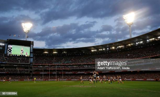 A general view during the 2018 AFL round five ANZAC Day match between the Collingwood Magpies and the Essendon Bombers at the Melbourne Cricket...