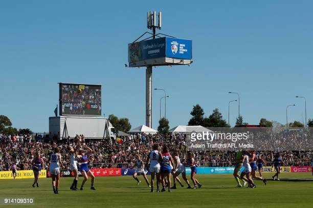 General view during the 2018 AFLW Round 01 match between the Western Bulldogs and the Fremantle Dockers at VU Whitten Oval on February 4, 2018 in...