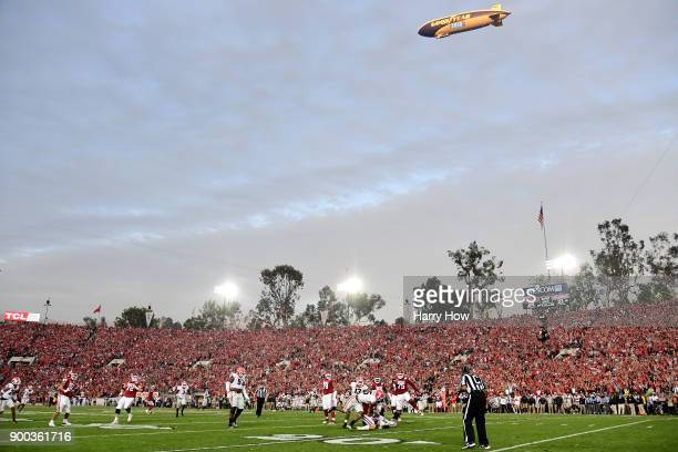 A general view during the 2018 College Football Playoff Semifinal Game between the Oklahoma Sooners and Georgia Bulldogs at the Rose Bowl Game...