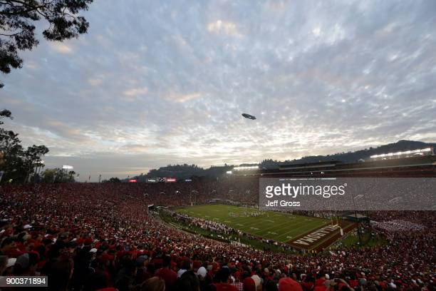 A general view during the 2018 College Football Playoff Semifinal Game between the Georgia Bulldogs and Oklahoma Sooners at the Rose Bowl Game...