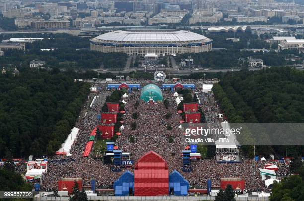 France supporters celebrate after the FIFA World Cup 2018 final match between France and Croatia on July 15 2018 at Fan Fest zone in Saint Petersburg...