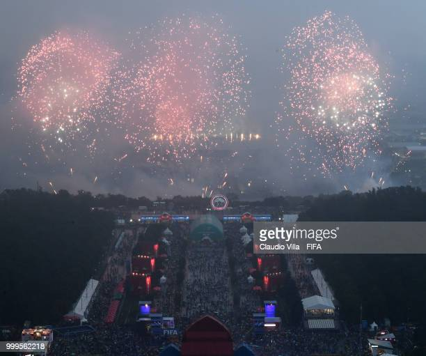 A general view during the 2018 FIFA World Cup Final match between France v Croatia at Luzhniki Stadium on July 15 2018 in Moscow Russia