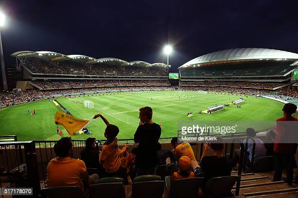 A general view during the 2018 FIFA World Cup Qualification match between the Australia Socceroos and Tajikistan at the Adelaide Oval on March 24...