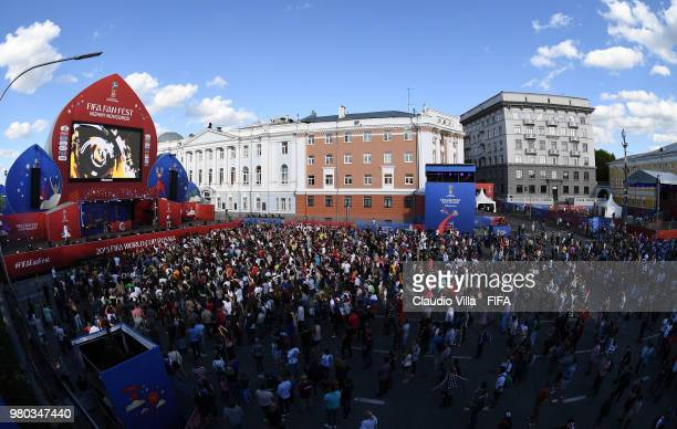 Football fans cheer at the Red Square on June 21 2018 in Moscow Russia