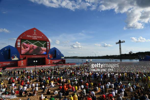 A general view during the 2018 FIFA World Cup Russia Quarter Final match between Brazil and Belgium at Kazan Arena on July 6 2018 in Kazan Russia
