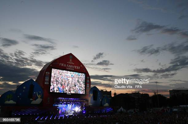 A general view during the 2018 FIFA World Cup Russia Quarter Final match between Sweden and England at Samara Arena on July 7 2018 in Samara Russia