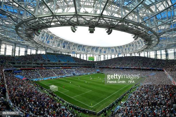 A general view during the 2018 FIFA World Cup Russia Quarter Final match between Uruguay and France at Nizhny Novgorod Stadium on July 6 2018 in...