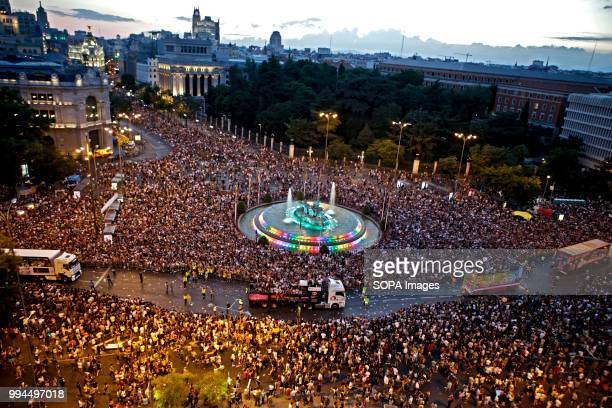 General view during the 2018 Pride Parade Thousands of people has been filling the streets and avenues of Madrid on a sunny day for the 2018 gay...