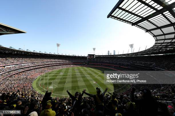 General view during the 2019 AFL Grand Final match between the Richmond Tigers and the Greater Western Sydney Giants at Melbourne Cricket Ground on...