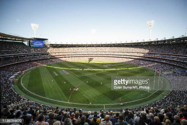 General view during the 2019 AFL round 06 ANZAC Day match between the Essendon Bombers and the Collingwood Magpies at the Melbourne Cricket Ground on...