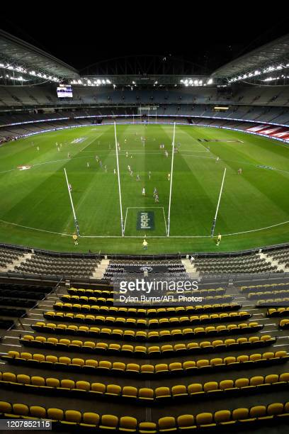 General view during the 2020 AFL Round 01 match between the Western Bulldogs and the Collingwood Magpies at Marvel Stadium on March 20, 2020 in...