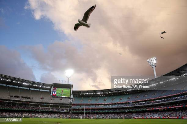General view during the 2021 AFL Round 04 match between the Melbourne Demons and the Geelong Cats at the Melbourne Cricket Ground on April 11, 2021...