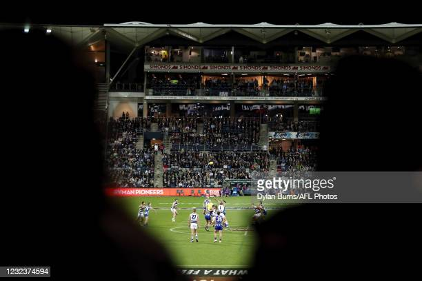 General view during the 2021 AFL Round 05 match between the Geelong Cats and the North Melbourne Kangaroos at GMHBA Stadium on April 18, 2021 in...