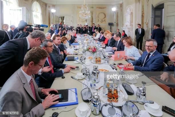 A general view during the 20th GermanFranco Ministerial Council at Schloss Meseberg on June 19 2018 near Gransee Germany Merkel Macron and a...