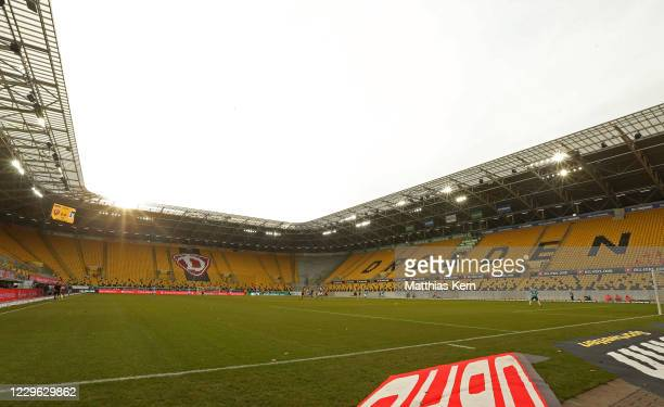 General view during the 3. Liga match between SG Dynamo Dresden and TSV 1860 Muenchen at Rudolf-Harbig-Stadion on November 15, 2020 in Dresden,...