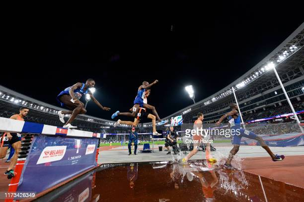 General view during the 3000m Steeplechase Men Final on Day 1 of The Match Europe v USA Minsk 2019 at Dinamo Stadium on September 09, 2019 in Minsk,...