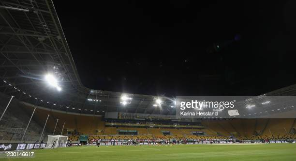 General view during the 3.Liga match between SG Dynamo Dresden and SC Verl at Rudolf-Harbig-Stadion on December 15, 2020 in Dresden, Germany.